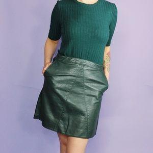 Zara Skirts - Zara Dark Green Faux Leather Mini Skirt